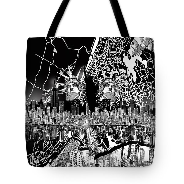 New York Map Black And White 2 Tote Bag