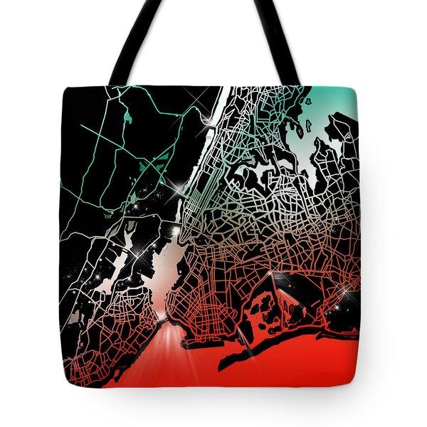 New York Map Gradient Tote Bag