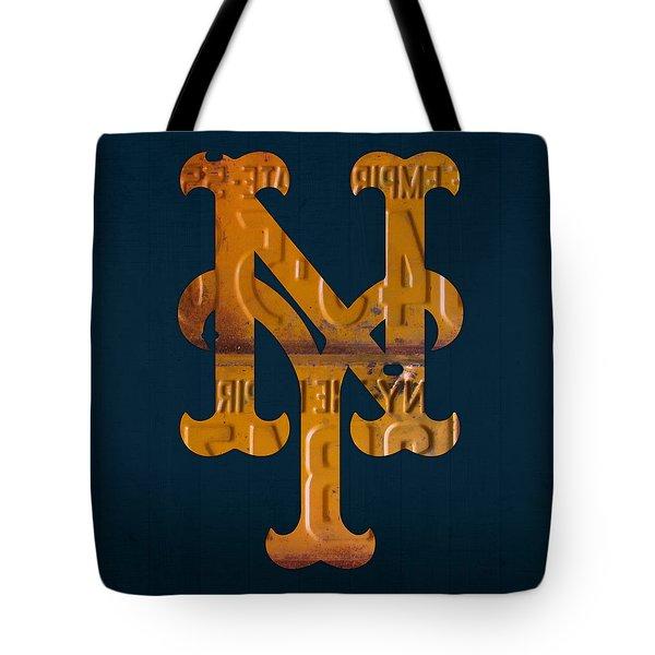 New York Mets Baseball Vintage Logo License Plate Art Tote Bag