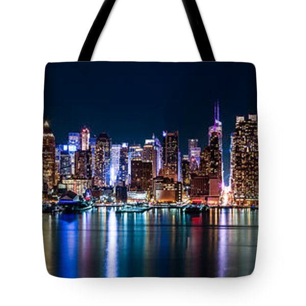 Tote Bag featuring the photograph New York Panorama By Night by Mihai Andritoiu