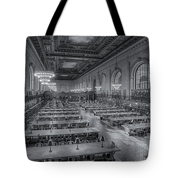 New York Public Library Rose Room Bw Tote Bag by Susan Candelario