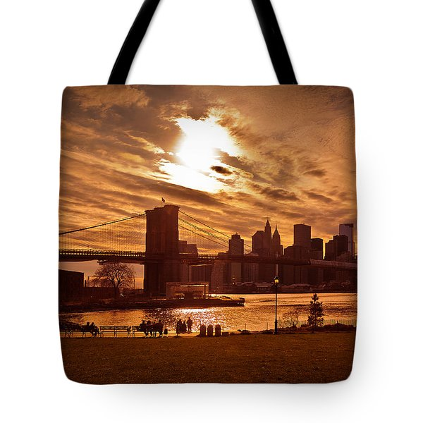 New York Skyline And Brooklyn Bridge -- Late Afternoon Tote Bag