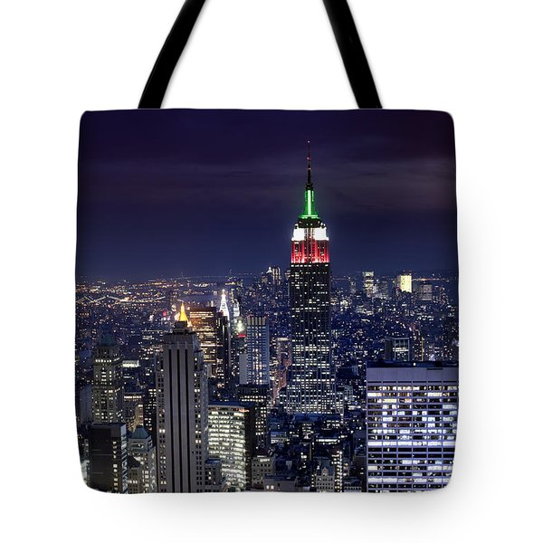 New York Skyline Night Color Tote Bag