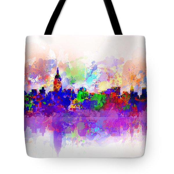 New York Skyline Splats 3 Tote Bag