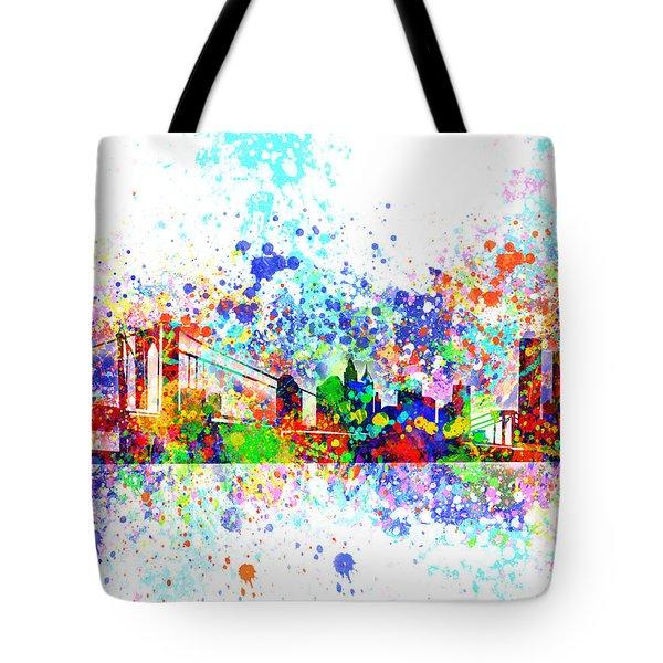 New York Skyline Splats Tote Bag