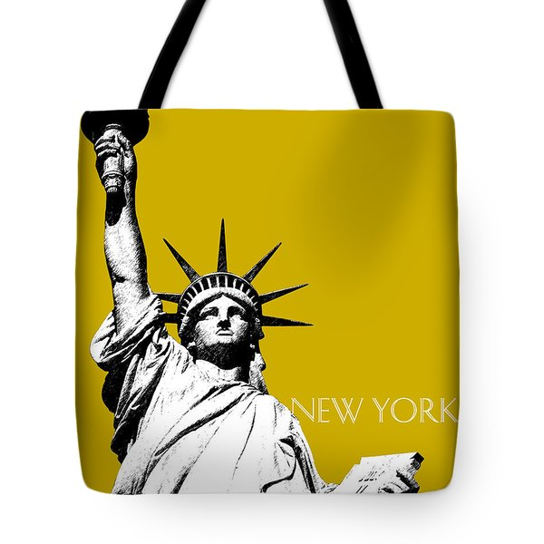 New York Skyline Statue Of Liberty - Gold Tote Bag