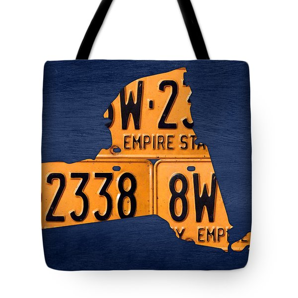 New York State License Plate Map Tote Bag by Design Turnpike