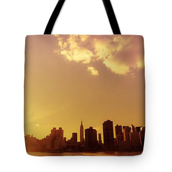 New York Sunset Skyline Tote Bag by Vivienne Gucwa