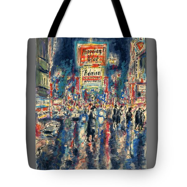 New York Times Square - Watercolor Tote Bag by Art America Gallery Peter Potter