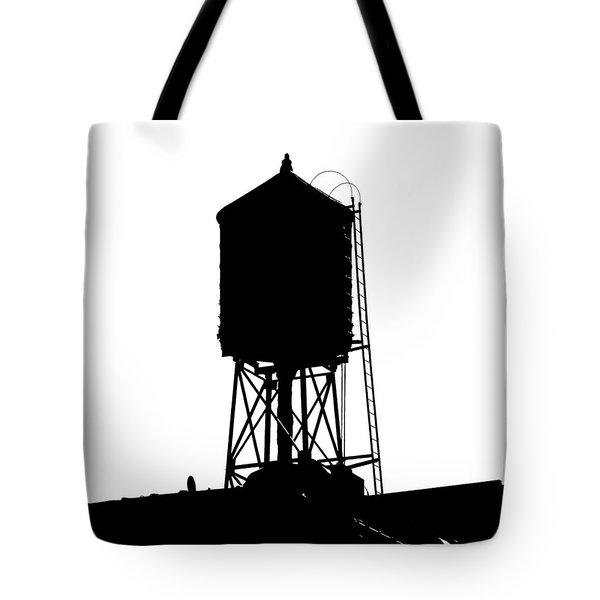 Tote Bag featuring the photograph New York Water Tower 17 - Silhouette - Urban Icon by Gary Heller