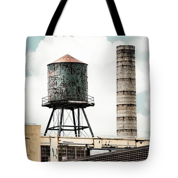 Tote Bag featuring the photograph Water Tower And Smokestack In Brooklyn New York - New York Water Tower 12 by Gary Heller