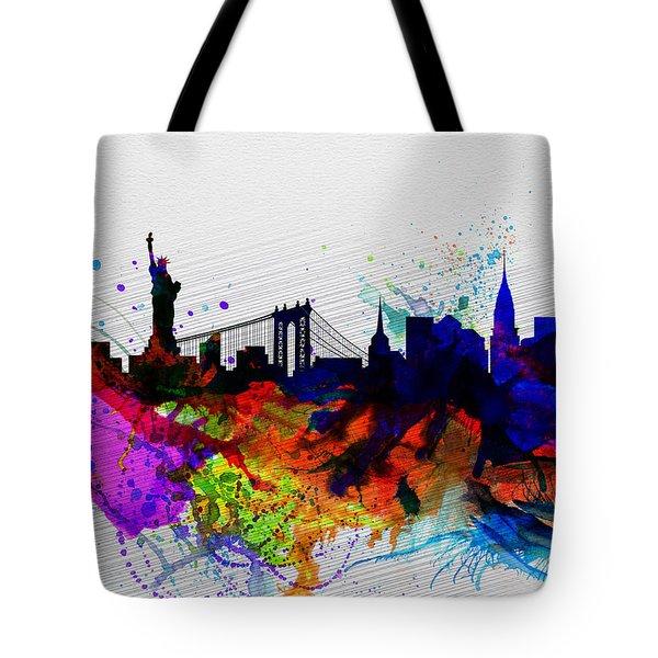 New York  Watercolor Skyline 1 Tote Bag