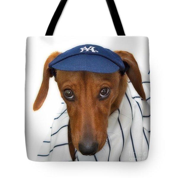 New York Yankee Hotdog Tote Bag by Susan Candelario