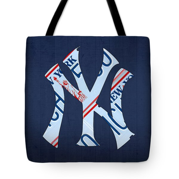 New York Yankees Baseball Team Vintage Logo Recycled Ny License Plate Art Tote Bag by Design Turnpike