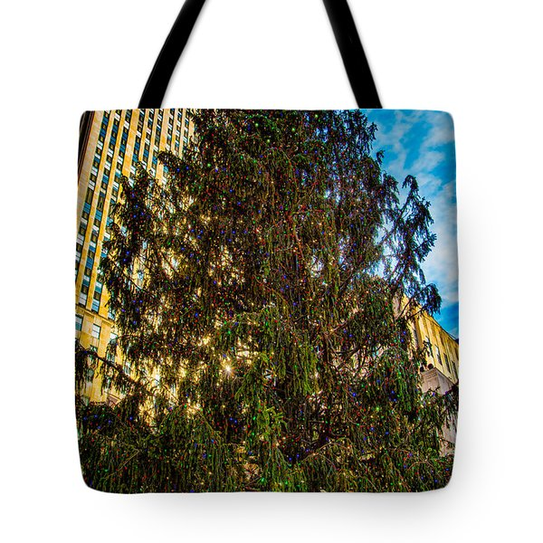 Tote Bag featuring the photograph New York's Holiday Tree by Chris Lord