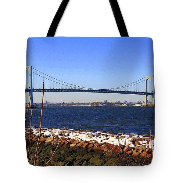 New York's Throgs Neck Bridge Tote Bag by  Photographic Art and Design by Dora Sofia Caputo