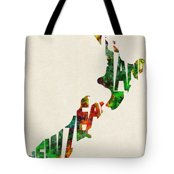 New Zealand Typographic Watercolor Map Tote Bag