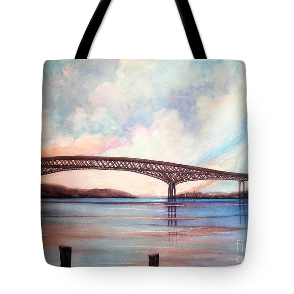 Newburgh Beacon Bridge Sky  Tote Bag