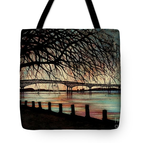 Newburgh Beacon Bridge Sunset Tote Bag by Janine Riley