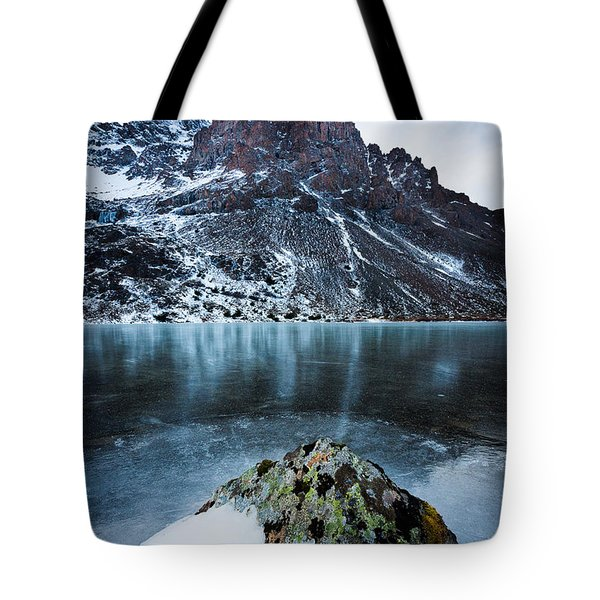 Frozen Mountain Lake Tote Bag