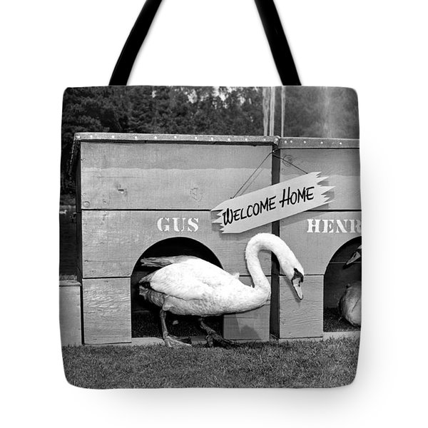 Newly Wed Swans At Home Tote Bag