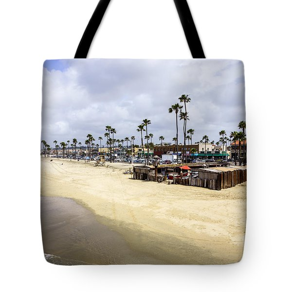 Newport Beach Oceanfront Businesses With Dory Fleet Tote Bag by Paul Velgos