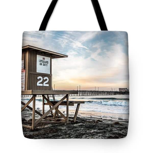 Newport Beach Pier And Lifeguard Tower 22 Photo Tote Bag by Paul Velgos
