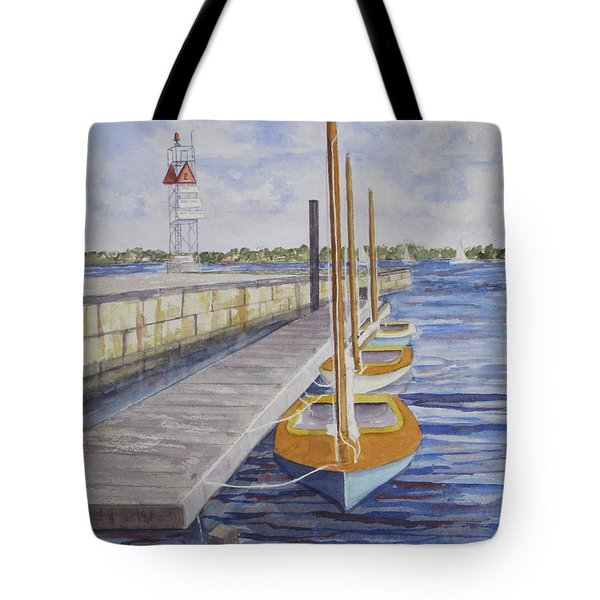 Tote Bag featuring the painting Newport Boats In Waiting by Carol Flagg