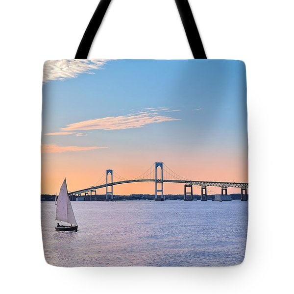 Newport Bridge Twilight Sunset With Sailboat Rhode Island Usa Tote Bag