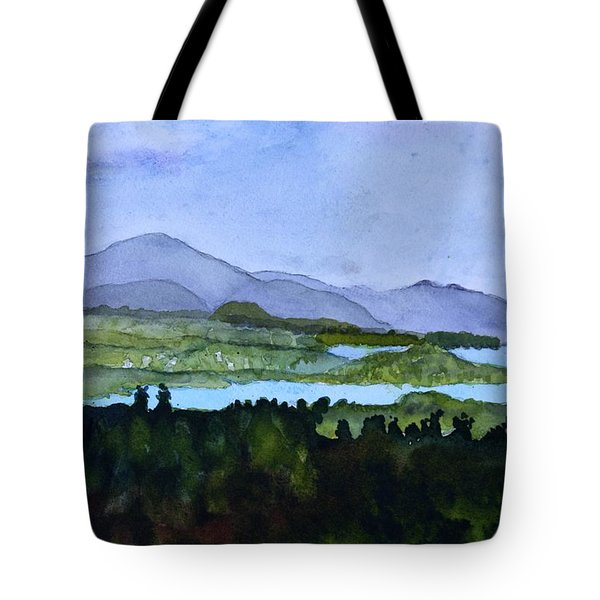Tote Bag featuring the painting Newport From Brownington Lookout by Donna Walsh