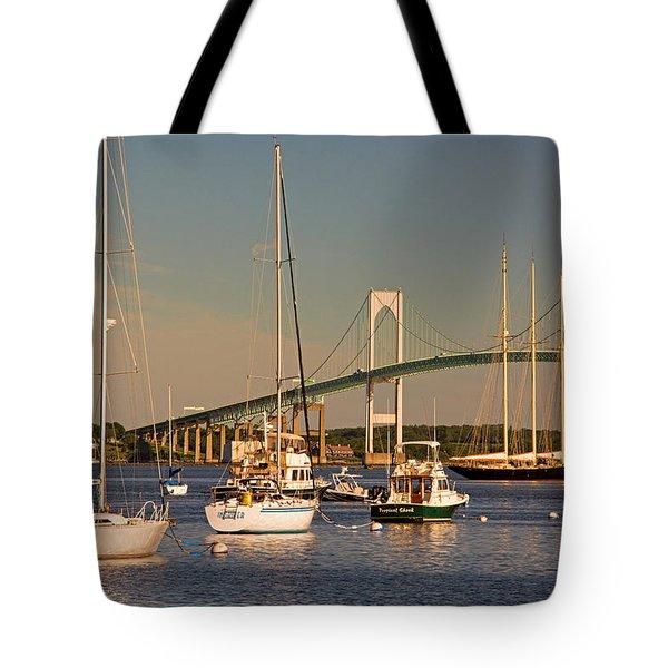 Newport Harbor With Pell Bridge Tote Bag