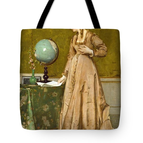 News From Afar Tote Bag by Alfred Emile Stevens