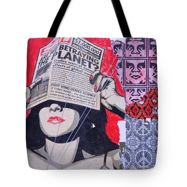 Tote Bag featuring the photograph Shepard Fairey Graffiti Andre The Giant And His Posse Wall Mural by Kathy Barney