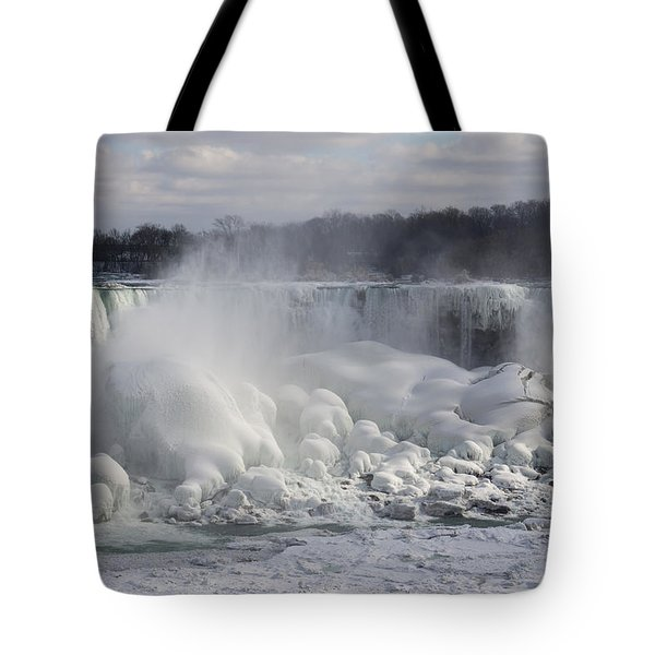 Niagara Falls Awesome Ice Buildup - American Falls New York State Usa Tote Bag by Georgia Mizuleva