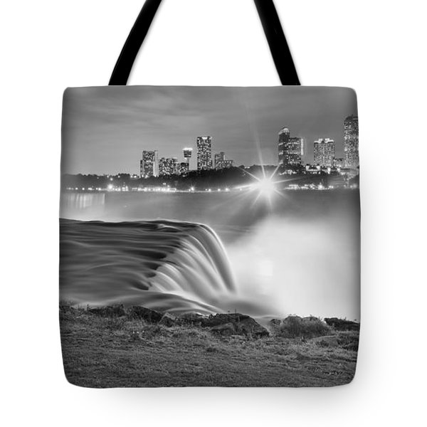 Niagara Falls Black And White Starbursts Tote Bag