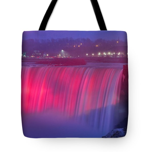 Niagara Falls Pretty In Pink Lights. Tote Bag