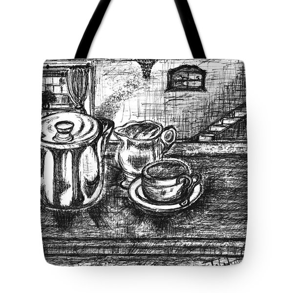 Tote Bag featuring the drawing Nice Cup Of Tea by Teresa White