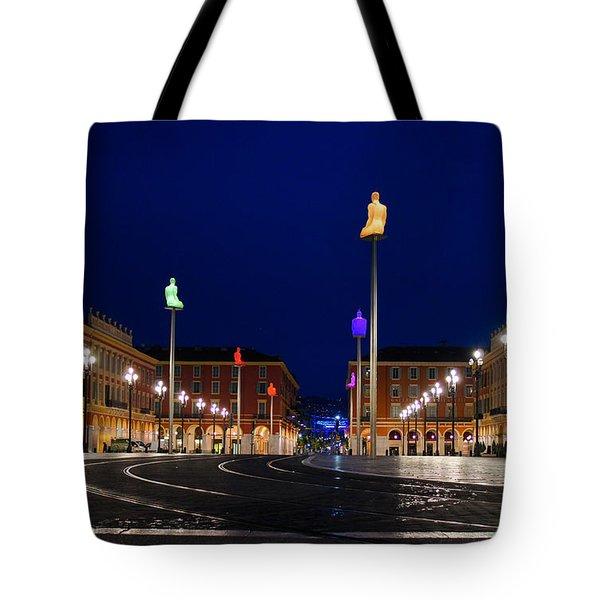 Nice France - Place Massena Blue Hour  Tote Bag