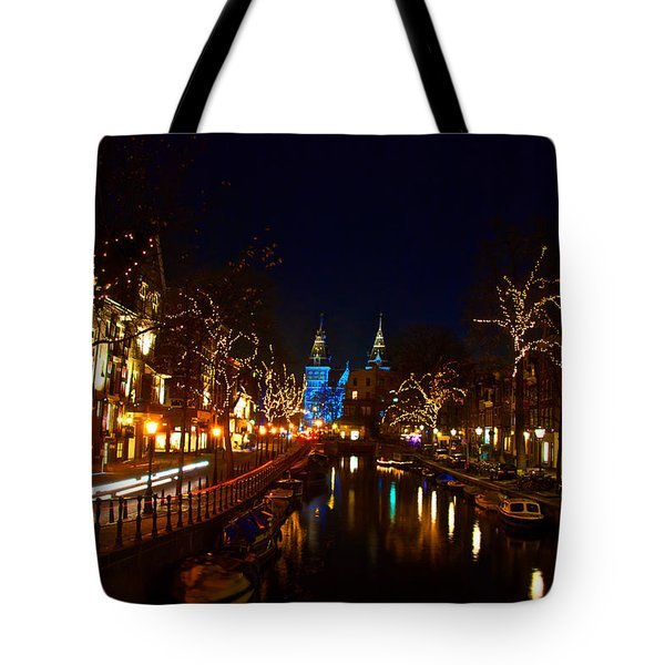Nieuwe Spieglestraat At Night Tote Bag by Jonah  Anderson