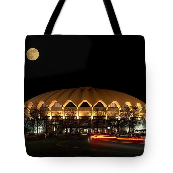 night and moon WVU basketball arena Tote Bag by Dan Friend