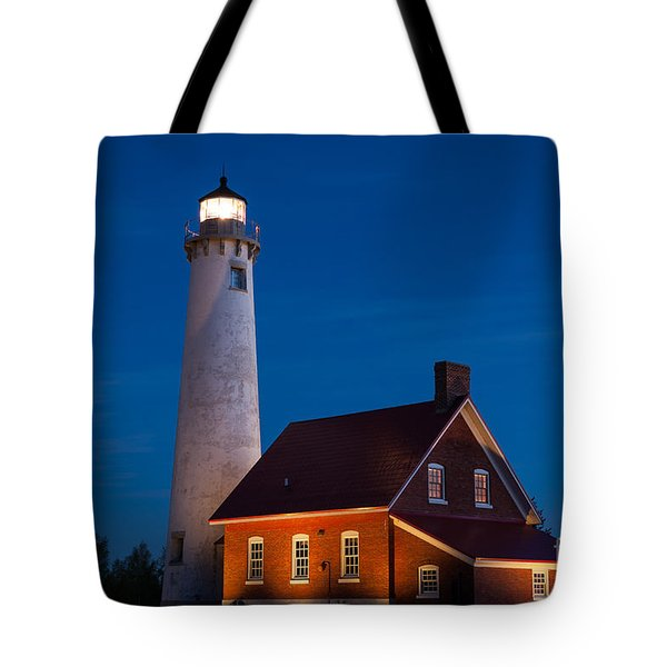 Night At The Lighthouse Tote Bag