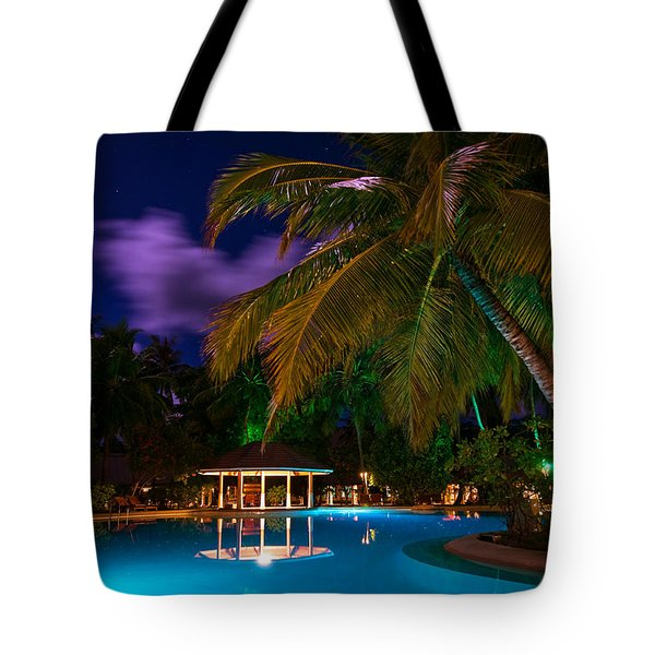 Night At Tropical Resort Tote Bag by Jenny Rainbow