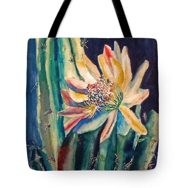Night Blooming Cactus Tote Bag by Carolyn Jarvis