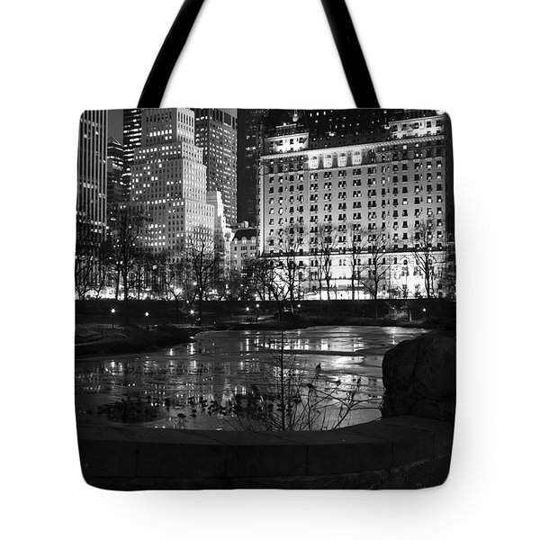 Night Central Park Lake H Tote Bag