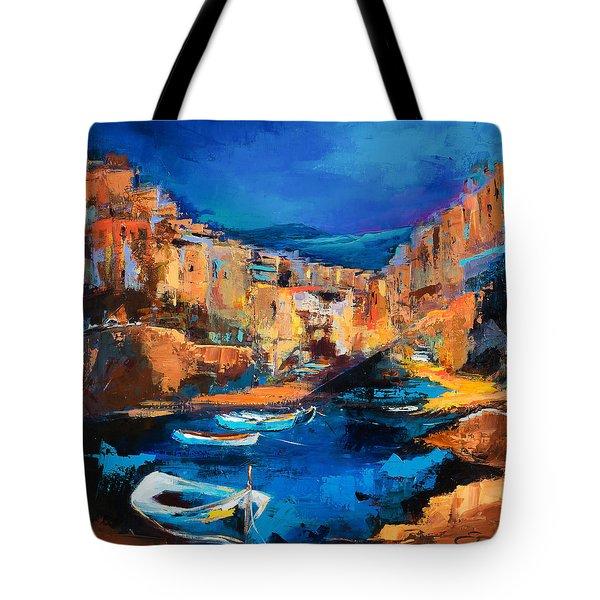 Night Colors Over Riomaggiore - Cinque Terre Tote Bag