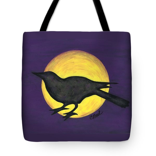 Night Crow On Purple Tote Bag