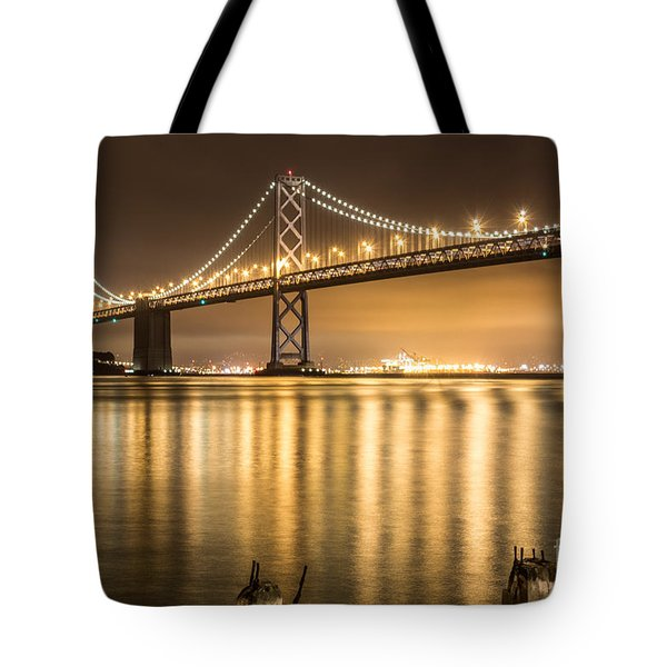 Night Descending On The Bay Bridge Tote Bag