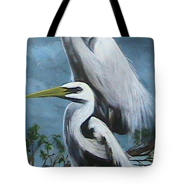 Night Egrets Tote Bag