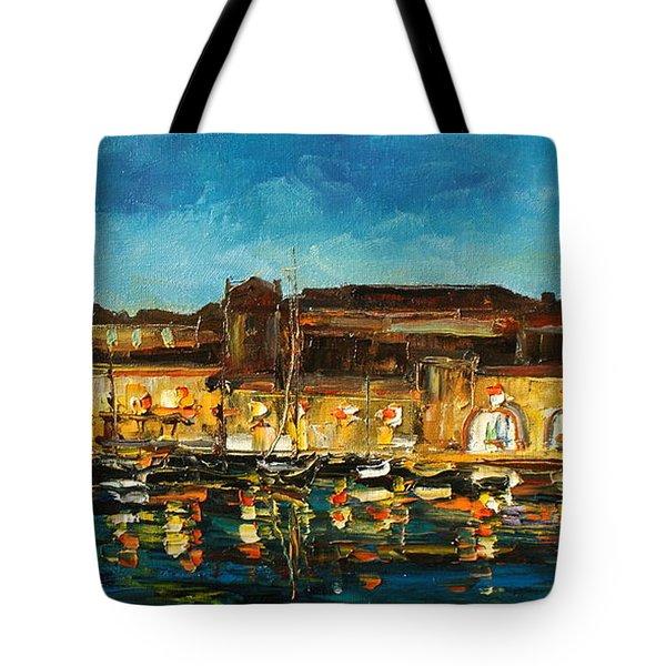 Night In Dubrovnik Harbour Tote Bag