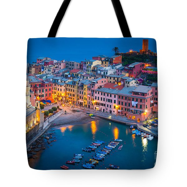 Night In Vernazza Tote Bag by Inge Johnsson